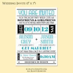 Custom Modern Vintage Retro Wedding Invitation Invite / RSVP Digital Design Set - Old Fashioned / Typography / Lines - DIY Printable. $35.00, via Etsy.