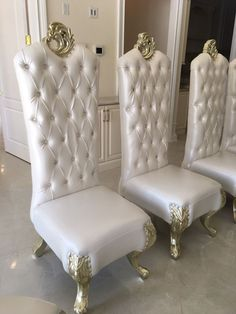 The chairs look low but that's only because they are very tall. They are perfect dining table height. And I have 2 Throne King Queen Chairs to match for heads of the table. these are very grand and regal looking chairs. Tall Dining Table, High Back Dining Chairs, Dining Room Chairs, Table And Chairs, Queen Chair, King Queen, White Leather, Accent Chairs, Formal