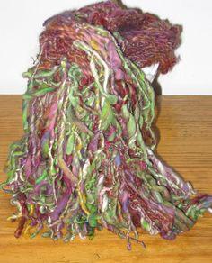 Handspun OOAK Shaggy Scarf by craftycabinwoolens on Etsy, $65.00