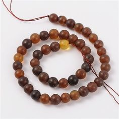 Natural Amber Beads Strands, Round, Frosted, 10mm, Hole: 1mm; about 40pcs/strand, 16""