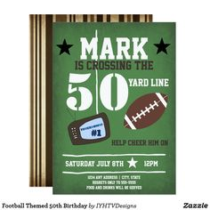 Shop Football Themed Birthday Invitation created by IYHTVDesigns. Personalize it with photos & text or purchase as is! 50th Birthday Themes, 50th Birthday Invitations, 50th Birthday Cards, Zazzle Invitations, Birthday Parties, Birthday Crafts, Birthday Celebrations, Invites, Birthday Ideas