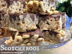 Easy Scotcheroo recipe made with Cheerios or Rice Krispies