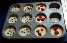 1 c pancake mix, 1/2 c milk, 1 egg, toppings, Fill muffin tin almost to top, bake 350 degrees for 20-30 mins