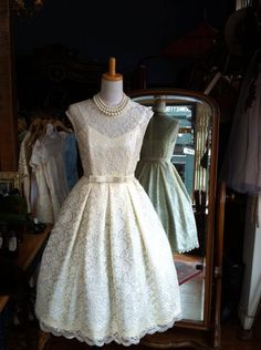 Cute vintage Dior wedding dress perfectly partnered with pearls