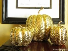 Dollar store pumpkins and dollar store thumbtacks=awesome! or with looking glass spray paint!!