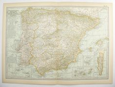 Antique Map Spain, Portugal Map 1901 Vintage Map, Spain Art Map, Office Art Gift for Coworker, Christmas Gift for Couple available from OldMapsandPrints on Etsy
