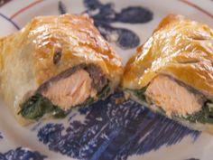 Salmon Wellingtons recipe from Nancy Fuller Farmhouse Rules via Food Network Salmon Wellington Recipe, Wellington Food, Salmon Recipes, Fish Recipes, Seafood Recipes, Recipies, Top Recipes, Chicken Recipes, Food Network Recipes