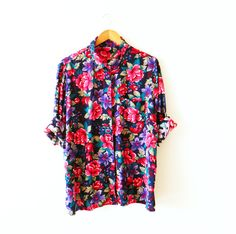 Rad Floral Vintage Blouse / Oversized Fuschia and Navy Floral Top / Slouchy Floral Blouse by thehappyforest on Etsy