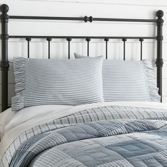 Striped Bedding, Striped Quilt, Ticking Stripe, Blue Bedding, Farmhouse Style Bedding, Rustic Bedding, Bedroom Retreat, Bedroom Decor, Bedroom Ideas