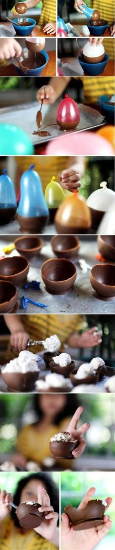 Chocolate Bowls. This is how you can make chocolate bowls for fancy deserts! I thought I needed a special mold to do it, just shows how much I know. This is going to be tried out at my house next weekend