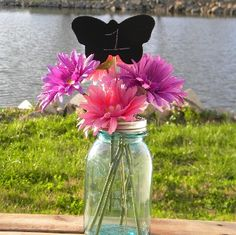 Butterfly Chalkboard on Stick Table Number Placecard