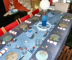 A Sip and See Baby Shower - so many wonderful ideas.  Great for any nautical type party.