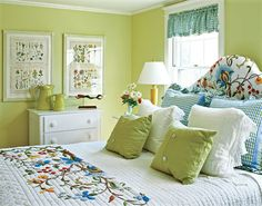 Wall paint: Spring Meadow Green #2031-40; trim paint: Ivory White  #925 .  Paint by Benjamin Moore