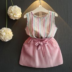 Cheap children set, Buy Quality girls clothing sets directly from China clothing sets Suppliers: Belbello Girls Clothing Sets Summer Short Sleeve T-Shirt Girl Skirt Kid Clothes Girl Striped Skirt Fashion Casual Children Sets Baby Dress Design, Baby Girl Dress Patterns, Little Girl Outfits, Little Girl Dresses, Toddler Outfits, Kids Outfits, Dresses For Kids, Baby Girl Fashion, Toddler Fashion
