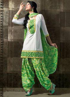 loving this green and white punjabi suit