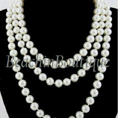 """29"""" Long  Swarovski White Pearl Necklace Handmade. This necklace can be worn many different ways including knotted. BeachinBoutique Jewelry Necklaces"""