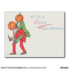 Jack O' Lantern Pumpkin Creature Piggyback Postcard