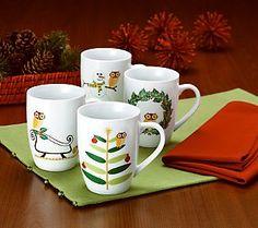 Rachael Ray Holiday Hoot Mugs - Set of 4 - Multi by Christmas Dinnerware From Rachael Ray on & Rachael Ray owl dinnerware | Hoot u003c(*v*)u003e | Pinterest | Dinnerware ...