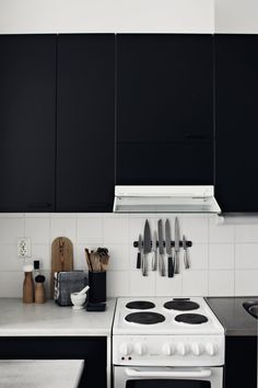 Great space saver magnetic knife set for apartment living. IKEA has inexpensive ones. Great move in or renewal gifts.