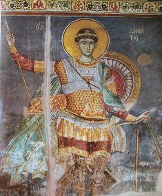 Saint Demetrius of Protat - Fresco of St. Demetrios by Manuel Panselinos in the Church of Protaton on Mount Athos (circa Fresco, Religious Icons, Religious Art, Tempera, Catholic News, Best Icons, Byzantine Art, Christ, Orthodox Icons