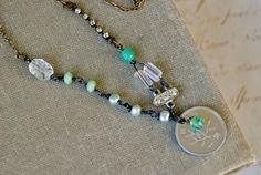 Marjorie. bohobeadedlayeredcoincharm necklace. by tiedupmemories, $36.00