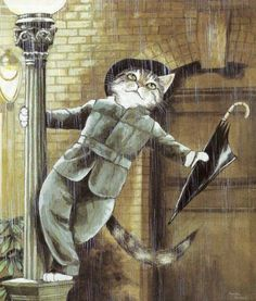 Movie Cats by Susan Herbert Just singin' Singin' in the rain Movie Cats von Susan Herbert Sing einfach im Regen Crazy Cat Lady, Crazy Cats, I Love Cats, Cute Cats, Adorable Kittens, Costume Chat, Animals And Pets, Cute Animals, Image Chat