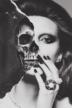 Gaetan Caputo Photography #bw #face #covered #hand #skull #collage #ripped #paper