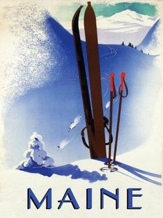 """Maine Vacation State America USA US Mountain Ski Winter Sport Skis Race Racing 12"""" X 16"""" Image Size Vintage Poster Reproduction by Heritage Posters, http://www.amazon.com/dp/B0089BV3XA/ref=cm_sw_r_pi_dp_m2Ufrb0TY36V3"""