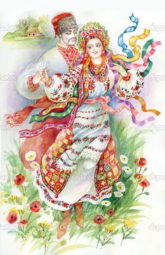 Народний танець. Дівчинка і хлопчик у традиційний одяг — стокове зображення #13659523