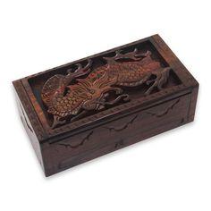 Novica Decorative Box, 'Fierce Dragon'