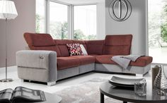 New Ecksofa Sofa RELAX Polyesterstoff Grau Braun Ottomane Links Sofas. offers on top store Xl Sofa, Brown Ottoman, Corner Sofa, Brown And Grey, Living Room Decor, Modern, Interior Design, The Originals, Fabric