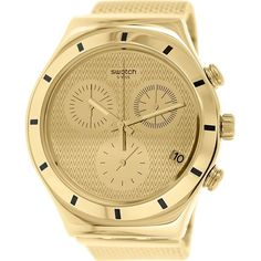 Swatch Women's Irony YCG410GB Goldtone Stainless Steel Swiss Quartz... ($195) ❤ liked on Polyvore featuring jewelry, watches, crown jewelry, stainless steel watches, swatch jewelry, gold tone jewelry and swatch watches