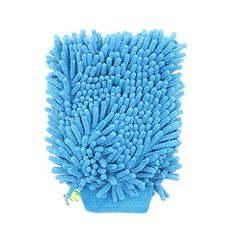Pasow Chenille Microfiber Premium Car Wash Mitt Scratch Dual Sided Microfiber Wash Glove Cleaning Cloth Towel for Car, Furniture,Window & Glass - Pack of 2 (Sky Blue)
