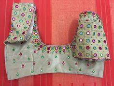 Rawsilk blouse with mirror work 7702919644 Cutwork Blouse Designs, Kids Blouse Designs, Simple Blouse Designs, Blouse Neck Designs, Mirror Work Saree Blouse, Mirror Work Blouse Design, Dress, Embroidery, African Fashion
