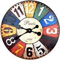 RELOJ DE PARED DISENO PARIS 1886 MUY GRANDE DECORACION NOSTALGIA - Tinas Collection Shabby Vintage, Grande, Nostalgia, Clock, Wall, Design, Home Decor, Wood Clocks, Watch