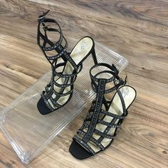 4a11fba112f Vince Camuto Womens VP-Pascala Strappy Black Jeweled Heels Size 10 New