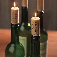 Wine cork candles are available from a number of online retailers.