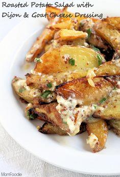 Potato Salad Recipe: Roasted Potato Salad with Dijon & Goat Cheese Dressing #recipe