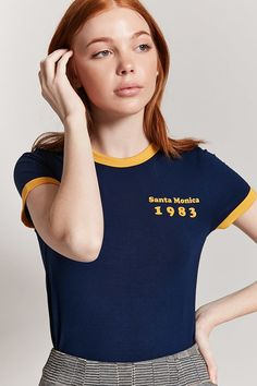 Product Name:Santa Monica 1983 Graphic Ringer Tee, Category:top_blouses, Ringer Tee Outfit, Lacoste Clothing, Korean Casual Outfits, Forever 21 Girls, Girl Fashion, Fashion Outfits, Fashion Ideas, Crop Top Shirts, Crop Tops