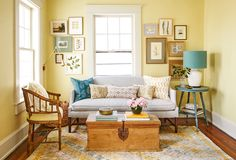 Our decorating editor styled this living room using only finds from eBay, Craigslist, and Etsy!