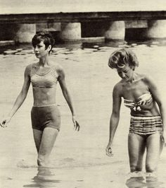 Audrey Hepburn in a Givenchy bathing suit photographed with the Countess Brandolini d'Adda (her beloved friend), during her holidays in Venice, in August 1965.