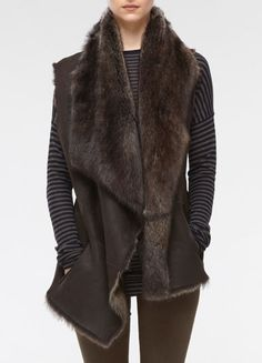 Love this shearling drape vest from Vince