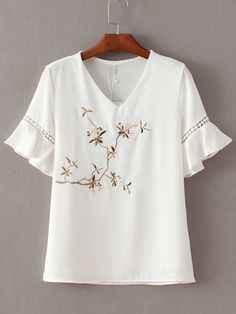 Shop White V Neck Ruffle Sleeve Embroidery Blouse online. SheIn offers White V Neck Ruffle Sleeve Embroidery Blouse & more to fit your fashionable needs. Blouse Styles, Blouse Designs, Tunic Blouse, Shirt Blouses, Mode Top, White V Necks, Embroidery Dress, Embroidered Blouse, Short Tops