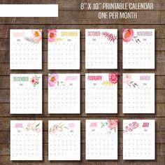 2016-2017 pared calendario calendario de flores por DigitalStyle Diy Calendario, Agenda Planner, Print Calendar, Etsy App, Printable Paper, Paper Goods, Academic Calendar, Diy And Crafts, Stationery