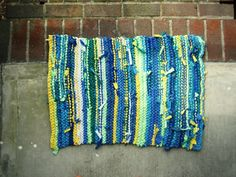 Knitted Rag Rug from Upcycled TShirts by lillydarby on Etsy, $30.00
