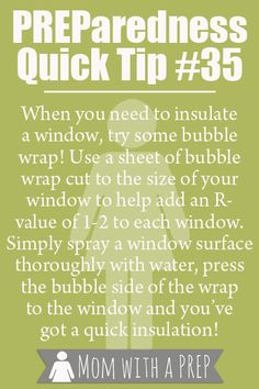 Preparedness Quick Tip - Bubble Wrap your windows for some extra insulation over the winter. >> Would work on car windows too. Will include in car kit now!
