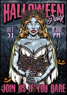 Colorful Spooky Halloween vector poster design.