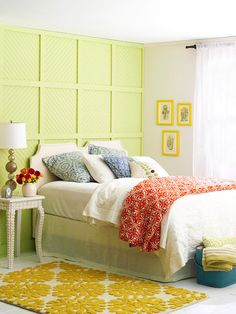 this pretty wall was made with squares cut from sheets of beadboard and trimmed with horizontal and vertical moldings