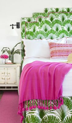 Switch things up with a fab patterned headboard for a cheery guest bedroom.