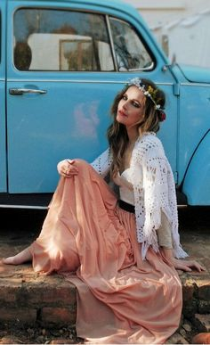 Buy this Hippie Style Pleated, Floral, Bohemia Casual Skirt at BYnOB.com #BeachPartyDress #Vintage Volkswagen